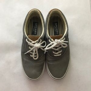 Sperry Topsider Gray Canvas Sneakers 10 Mens